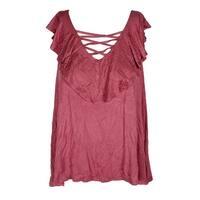 Hippie Rose Juniors Berry Blush Ruffled Jersey Top XL