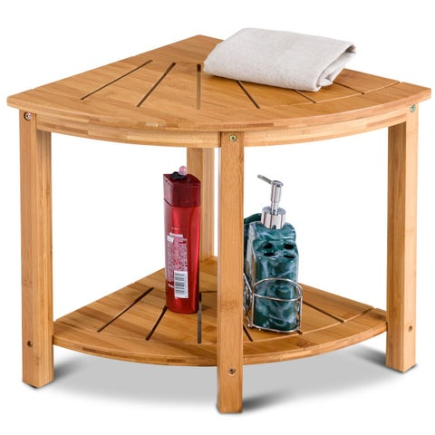 Gymax Shower Beach Bamboo Spa Seat Stool Bathroom Organizer w/Storage Shelf - Natural