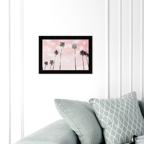 Oliver Gal 'Palm Trees Hearts and Blush' Nautical and Coastal Wall Art Framed Print Coastal Landscapes - Pink, Black