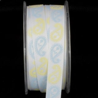 "White ""Inga's Paisley"" Grosgrain Craft Ribbon 16mm x 27 Yards"