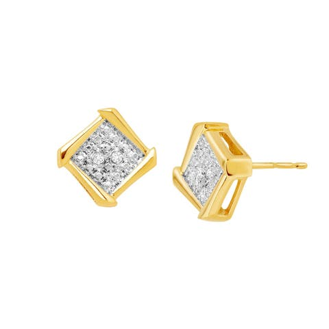 Framed Square Stud Earrings with Diamonds in 18K Gold-Plated Bronze