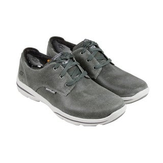Skechers Harper - Epstein Mens Grey Leather Casual Dress Lace Up Oxfords Shoes
