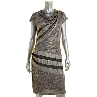 Betsey Johnson Womens Metallic Printed Cocktail Dress - 8