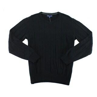 John Ashford NEW Black Mens Size Large L V-Neck Pullover Ribbed Sweater