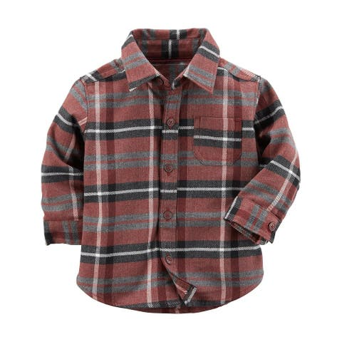 Carter's Baby Boys' Plaid Button-Front Shirt, Brown, 9 Months