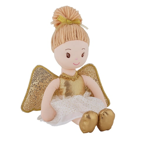 """5.75"""" x 13.78"""" White and Gold Angel Doll"""