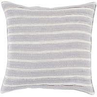 "20"" Neutral Light and Haze Gray Striped Decorative Square Throw Pillow - Down Filler"
