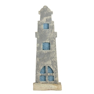 """15"""" Natural Distressed Wood Cape Cod Inspired Nautical Beacon - Blue"""