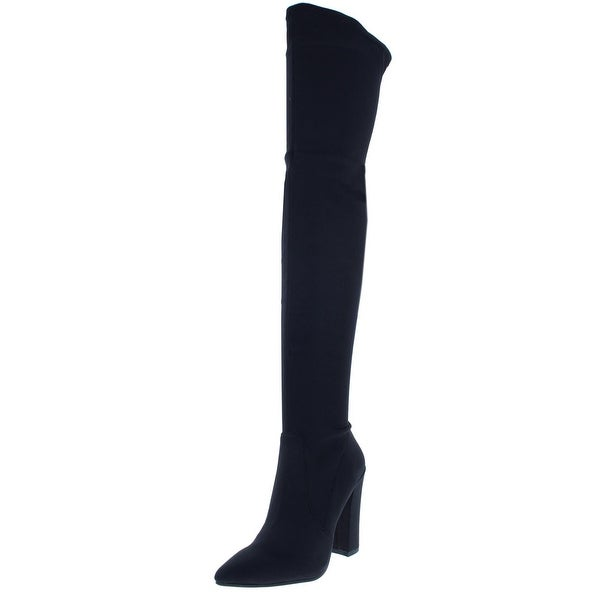 a20b66b3edf4 Shop Dolce Vita Womens Ellis Thigh-High Boots Satin Block - Free ...