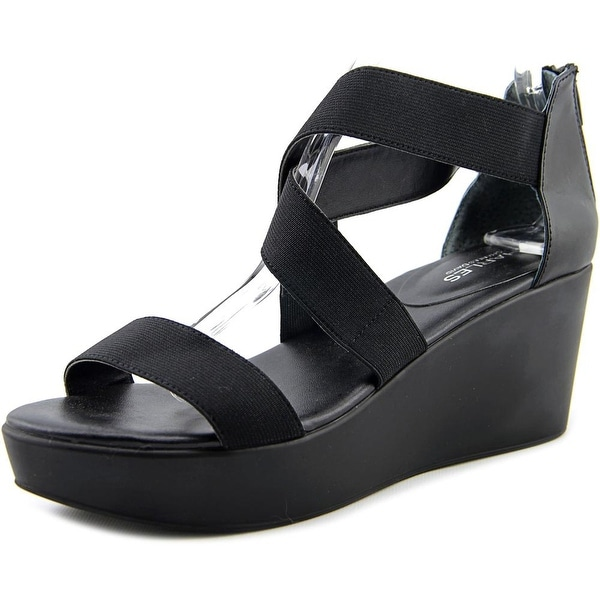 Charles By Charles David Joey Women Open Toe Canvas Black Wedge Sandal