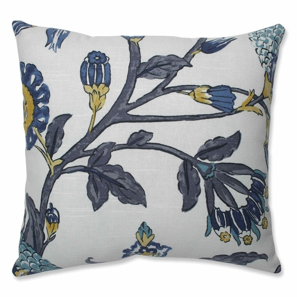 """16.5"""" Gray and Blue Transitional Indoor Square Throw Pillow with Sewn Seam Closure"""