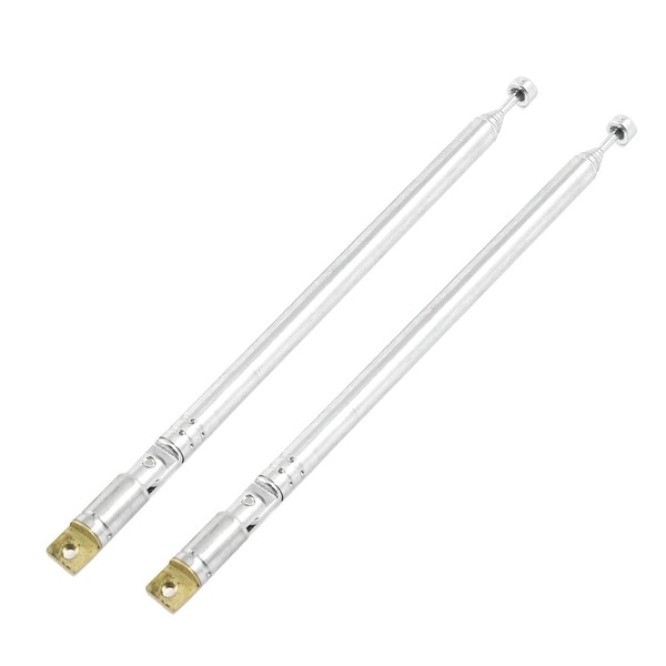 Unique Bargains 2Pcs 50cm Long 6 Sections Retractable AM FM Radio Antenna Silver Tone