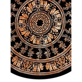 Handmade 100-percent Cotton Mandala Floral Tie Dye Elephant Tablecloth 72 Inch Round in Two Colors - Black & White and Brown