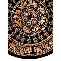 Handmade 100% Cotton Mandala Floral Tie Dye Elephant Print Tablecloth 72 Inch Round - Black & White and Black & Brown