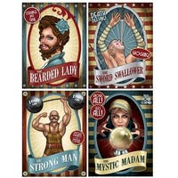 """Club Pack of 12 Vintage Circus Poster Cutouts Party Wall Decorations 15.25"""" - Red"""