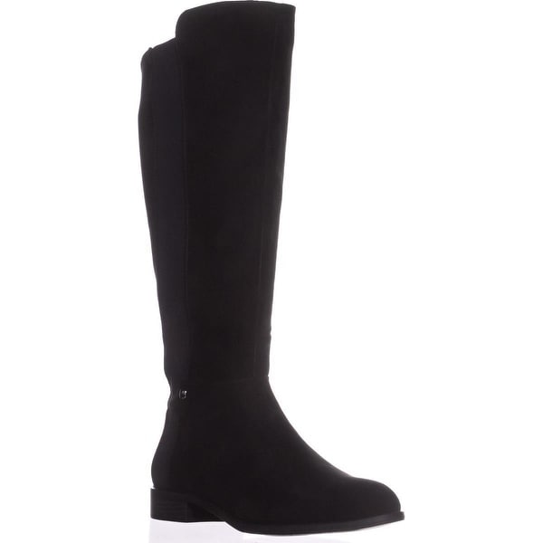 A35 Pippaa Wide Calf Knee-High Boots, Black Micro