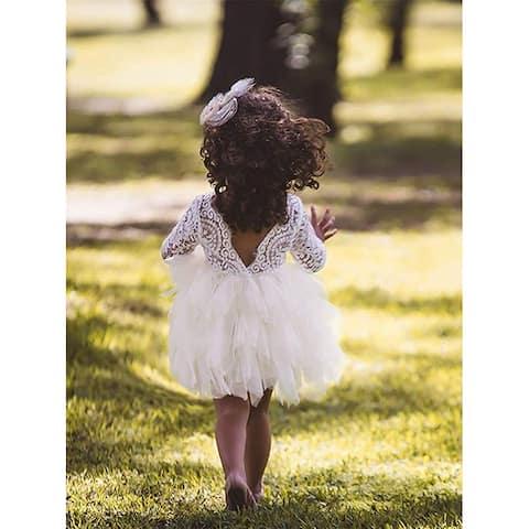Topmaker Backless A-line Lace Back Flower Girl Dress (6Y, Sleeve-Ivory) - Sleeve-ivory - 6