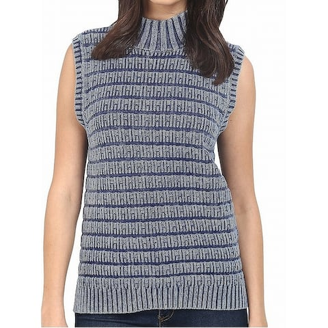 Three Dots Womens Sweater Blue Size Small S Vest Sleeveless Stretch