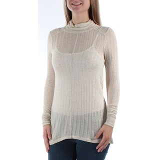 Womens Beige Long Sleeve Turtle Neck Casual Sweater Size S