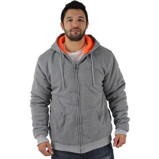 Moda Essentials Mens Hoodie Faux Sherpa Long Sleeves