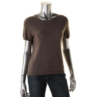 Private Label Womens Cashmere Short Sleeves Pullover Sweater - L