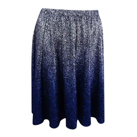 MSK Women's Metallic Ombre Skirt - Black/Silver/Blue