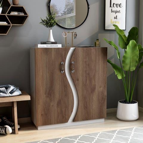 Furniture of America Daki Contemporary White 8-shelf Shoe Cabinet