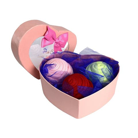 Peach Couture Womens Rose Fold Bouquet 3 Pack Cotton Crew Socks Heart Box