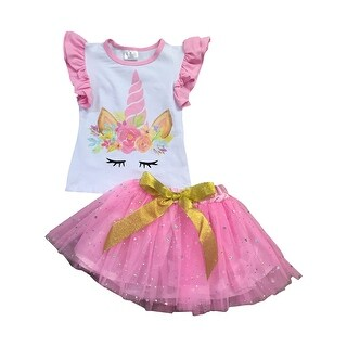 Ruffle Sleeve Unicorn Print Tutu Combo Set for Little Girl Pink 201518