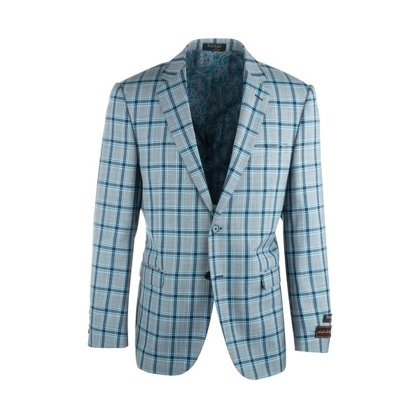 Sangria Light Gray with Navy and Blue Windowpane Pure Wool Jacket by Tiglio Luxe. Opens flyout.