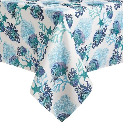 Fiesta Coastal Coral Fabric Tablecloth