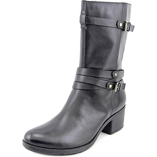 Bandolino Ursal Women Round Toe Leather Black Mid Calf Boot