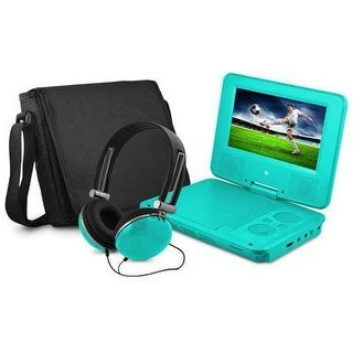 Ematic Epd707tl 7In Swivel Teal Portable Dvd Player W/ Matching Headphones & Bag