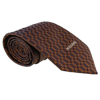 Missoni Grid Brown Woven 100% Silk Tie