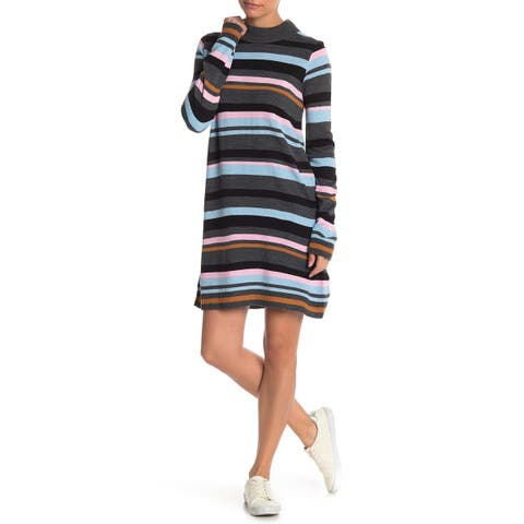 cd22551a7a Cotton Emporium Gray Womens Size Large L Striped Mock Sweater Dress