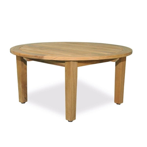 36 Natural Teak Round Outdoor Patio Wooden Coffee Table Brown