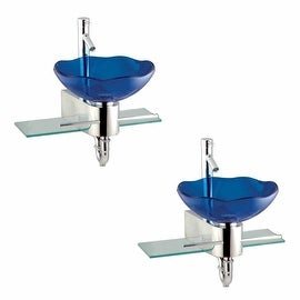 2 Small Wall Mount Glass Sink Blue Lotus Combo Package