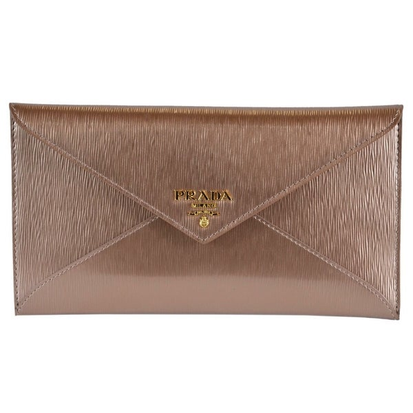 66a95bf45aea Prada 1MF175 Cipria Mordore Rose Gold Leather Envelope Wallet Clutch - S