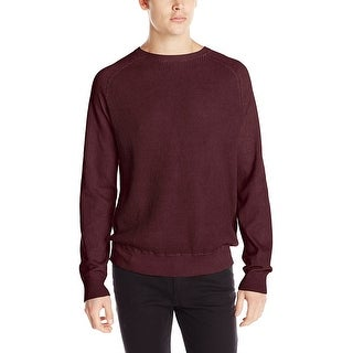 Calvin Klein CK Waffle Knit Crewneck Sweater Deep Oxblood Burgundy Small S