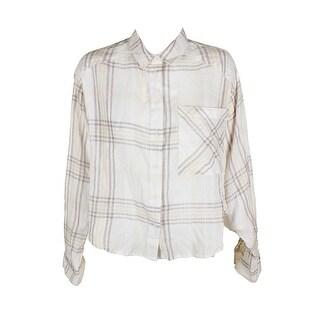 Free People Ivory Long Dolman-Sleeve Cotton Cropped Plaid Shirt M