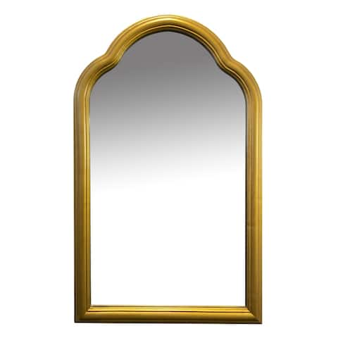 Arched Top Handcrafted Metal Encased Accent Wall Mirror, Antique Gold