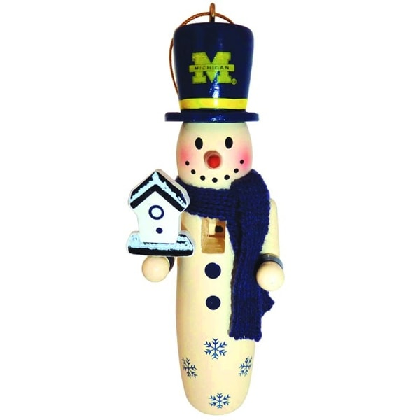 """6 NCAA University of Michigan Wolverines Wooden Snowman Christmas Ornaments 6"""""""