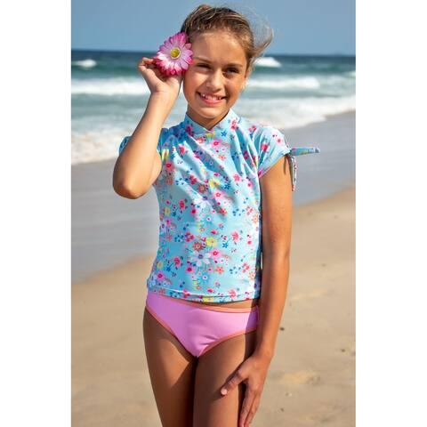 Sun Emporium Vintage Meadow Rash Guard Bikini Set Big Girls