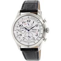 Seiko Men's  Silver Leather Quartz Fashion Watch