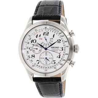 Seiko Men's Silver Leather Quartz Fashion Watch