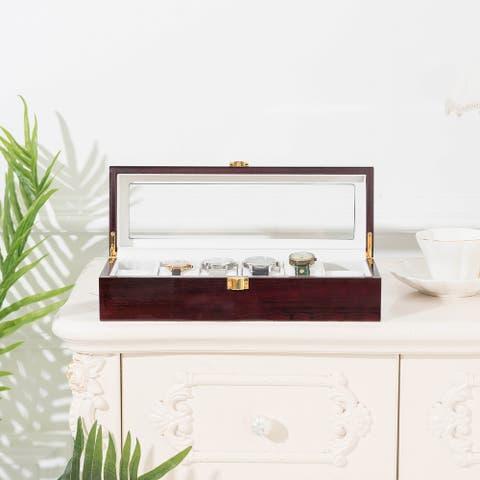 6 Slots Case Watch Display Case Glass Top Jewelry Storage Organizer
