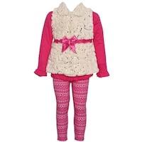 Real Love Little Girls Fuchsia Glitter Sequin Motif 2 Pc Legging Outfit 2T