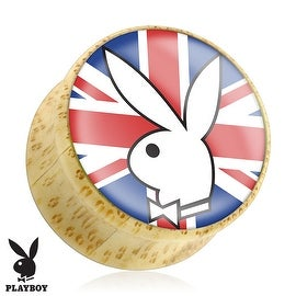 Playboy Bunny Logo on Union Jack Print Wood Saddle Plug (Sold Individually)