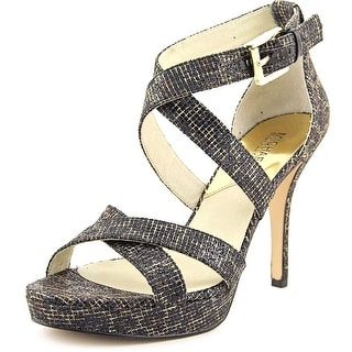 Michael Michael Kors Evie Platform Women Open Toe Canvas Black Platform Heel