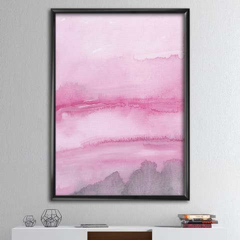 Designart 'Pink Abstract Watercolor' Shabby Chic Framed Art Print